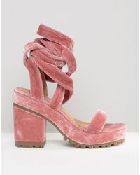 ASOS | Pink Trixy Lace Up Heeled Sandals | Lyst