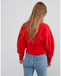 Monki - Red Fitted Balloon Sleeve Sweat - Lyst