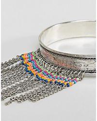 ASOS - Metallic Design Beaded Chain Arm Cuff - Lyst