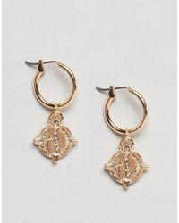 ASOS - Metallic Design Hoop Earrings With Coin In Gold - Lyst