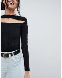 ASOS - Black Going Out Slash Neck Bardot Long Sleeve Top - Lyst