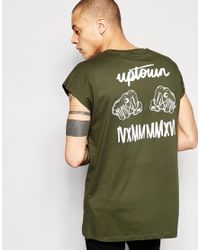 ASOS - Green Oversized Sleeveless T-shirt With Uptown Print In Khaki for Men - Lyst