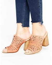 Carvela Kurt Geiger - Natural Kayla Nude Suede Cut Out Heeled Mules - Lyst