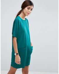 ASOS | Green Slinky T-shirt Dress With Pockets | Lyst
