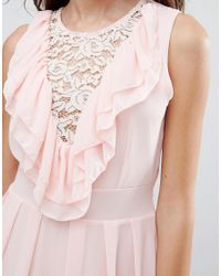 Wal-G - Pink Lace Insert Skater Dress With Ruffles - Lyst