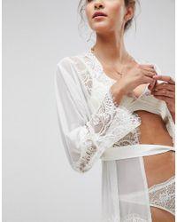 ASOS - White Bridal Eyelash Lace And Mesh Maxi Robe - Lyst