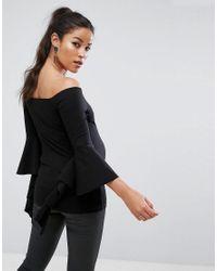 ASOS - Black Off Shoulder Ruffle Sleeve Top - Lyst