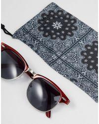 ASOS - Red Retro Sunglasses In Crystal Burgundy for Men - Lyst