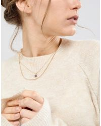 ASOS - Metallic Faceted Stone Pendant Multirow Necklace - Lyst