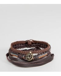 Icon Brand | Brown Plaited Bracelets In 3 Pack | Lyst