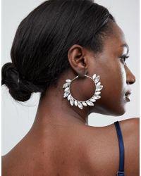 True Decadence - Metallic Blush Embellished Hoop Earrings - Lyst
