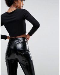 ASOS - Black Vinyl Skinny Trouser - Lyst