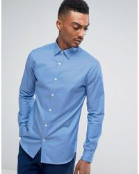 SELECTED - Blue Slim Easy Iron Smart Shirt for Men - Lyst