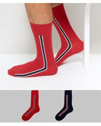 Tommy Hilfiger - Red Sock In 2 Pack for Men - Lyst