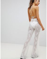 PRETTYLITTLETHING - White Lace Beach Pants - Lyst
