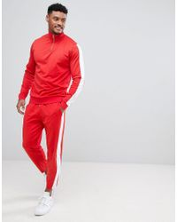 ASOS - Retro Tracksuit Half Zip Track Jacket/ Skinny Joggers In Red With White Panels for Men - Lyst