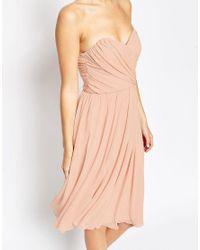 ASOS - Blue Design Bridesmaid Chiffon Bandeau Midi Dress - Lyst