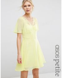 ASOS | Pink Skater Dress With Lace Insert | Lyst