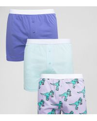 ASOS - Blue Jersey Boxers With Dj Dinosaur Print 3 Pack Save for Men - Lyst