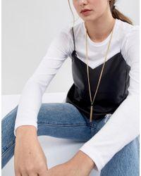 ASOS DESIGN - Metallic Metal Tassel Long Pendant Necklace - Lyst