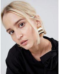 ASOS - Metallic Thick Curved Hoop Earrings - Lyst
