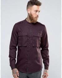 ASOS - Purple Regular Fit Shirt In Drape Fabric With Two Pockets for Men - Lyst