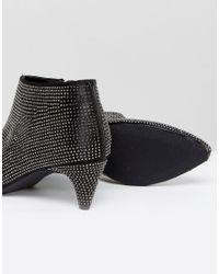 New Look - Black Diamante Heeled Ankle Boot - Lyst