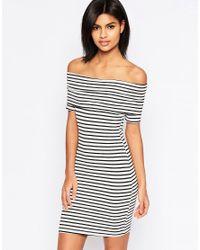 ASOS | Blue Mini Bardot Off Shoulder Dress In Stripe With Short Sleeve | Lyst