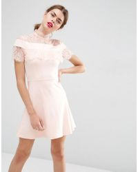 ASOS   Pink Ponte Skater Dress With Mesh & Lace Insert   Lyst