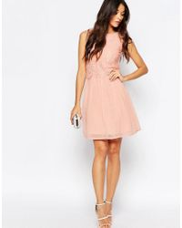 Club L - Pink Skater Dress With Eyelash Lace Overlay - Lyst