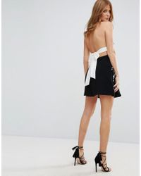 Millie Mackintosh - Black Embroidered Bow Back Halter Dress - Lyst