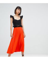 145d19043 Mango Pleat Midi Skirt In Orange in Orange - Lyst