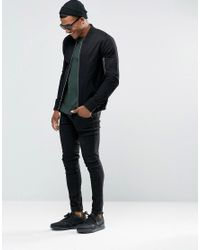 ASOS - Muscle Fit Bomber Jacket With Ma1 Pocket In Black for Men - Lyst