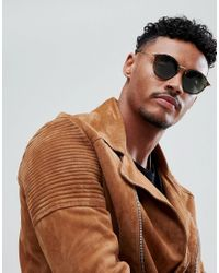ASOS - Round Sunglasses In Crystal Brown Tort With Green Lens for Men - Lyst