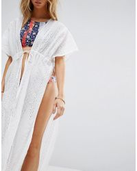 Liquorish - White Lace Caftan With Side Splits And Open Front - Lyst