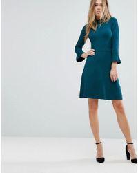 Warehouse Green Lace Collar Skater Dress