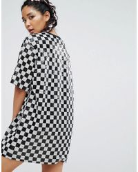 Jaded London | Black Festival Sequin T-shirt Dress In Checkerboard | Lyst