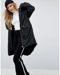 ASOS - Black Midi Rain Jacket With Faux Fur Liner - Lyst