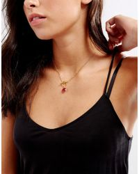 Dogeared - Metallic Gold Plated Because She's Fiery Ruby Bezel Gem Toggle Necklace - Lyst