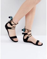 Call It Spring - Black Mckeague Lace Up Pom Pom Sandals - Lyst