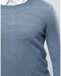 ASOS - Blue Muscle Fit Crew Neck Jumper In Merino Wool for Men - Lyst