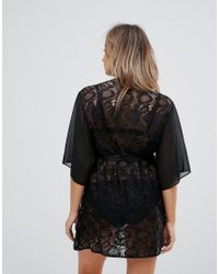 Wolf & Whistle - Black Maternity Lace And Chiffon Robe - Lyst