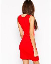 ASOS - Red Asymmetric Sleeveless Bodycon Dress - Lyst