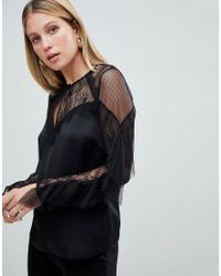 51c08f06dab Lipsy Lace And Mesh Top With Ruffle Sleeve in Black - Lyst