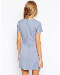 ASOS - Black Dress With Bonded Asymmetric Wrap - Lyst