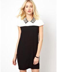 Beloved - Black Shift Dress with Embellished Collar - Lyst