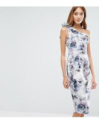 ASOS | White One Shoulder Floral Midi Dress | Lyst