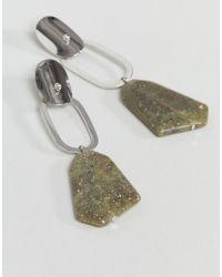 ASOS - Metallic Open Shape And Resin Drop Earrings - Lyst
