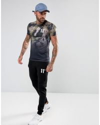 11 Degrees - T-shirt In Black Faded Camo for Men - Lyst