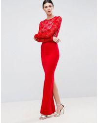 ASOS - Blue Soft Lace Top Maxi Dress - Lyst